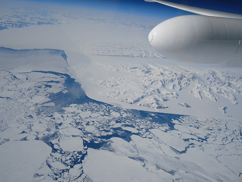 Glaciers and sea ice in Greenland.