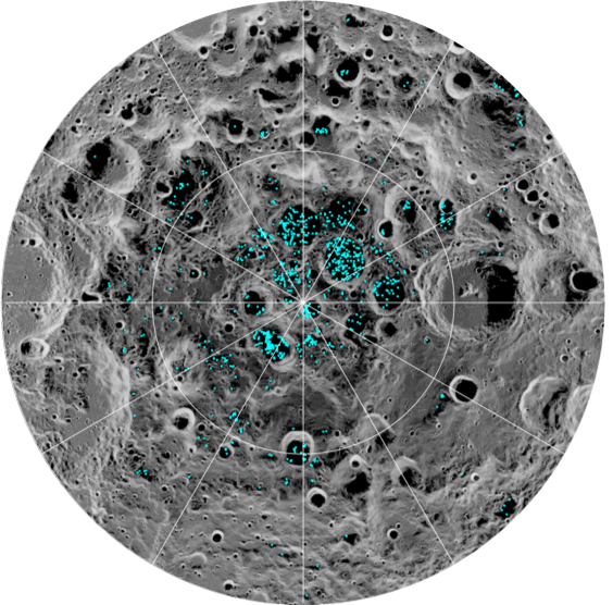 The blue dots on this image show where ice was detected on the Moon's south pole.