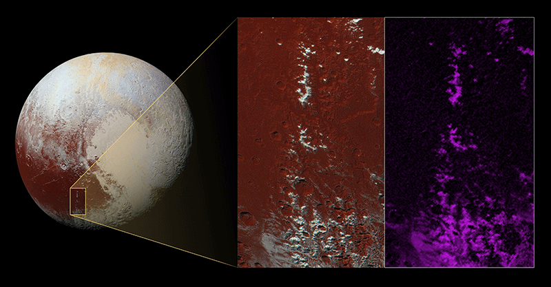 Pluto and an up-close image of its icy Cthulhu (pronounced kuh-THU-lu) mountain range.