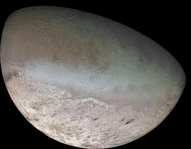 Image of Neptune's moon Triton from NASA's Voyager 2 mission.