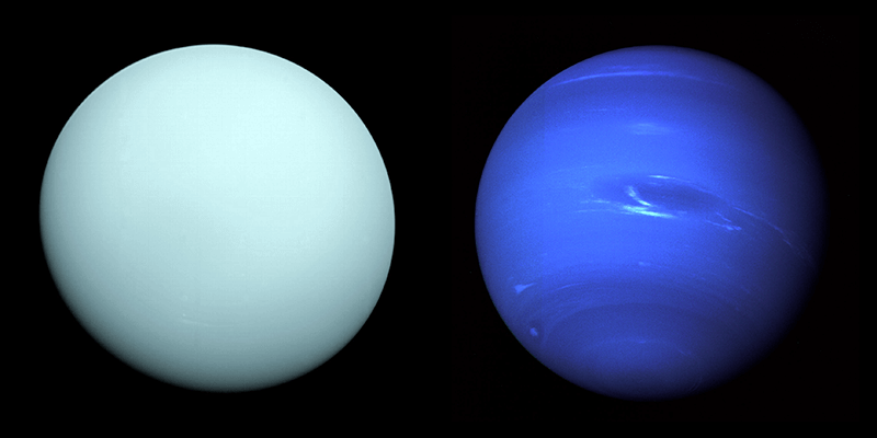 Images of Uranus and Neptune captured by NASA's Voyager 2 spacecraft.