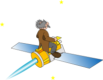 Cartoon Professor Star rides Deep Space 1 into space.