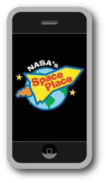 Dibujo animado de iPhone con el logo de Space Place.