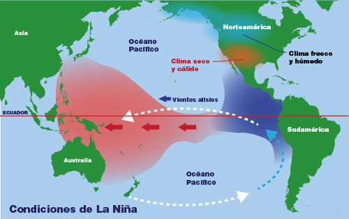 an illustrated map of the water movement in the Pacific Ocean under La Niña conditions