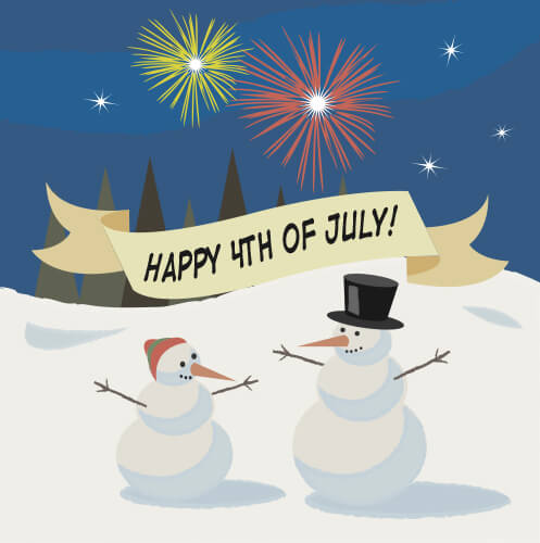 Illustration of two snowmen on the 4th of July with fireworks and snow in the background.