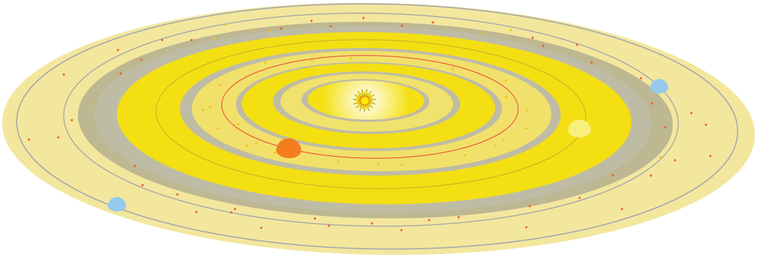 image an early solar system with planets forming around a star.