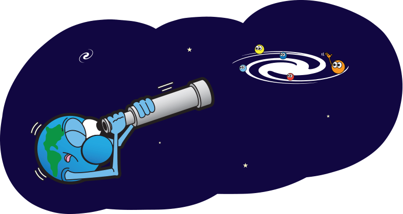 Cartoon telescope looking at planets in a galaxy