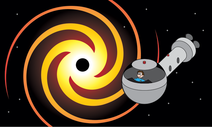 a character in a space ship looking at a black hole with spirals around it