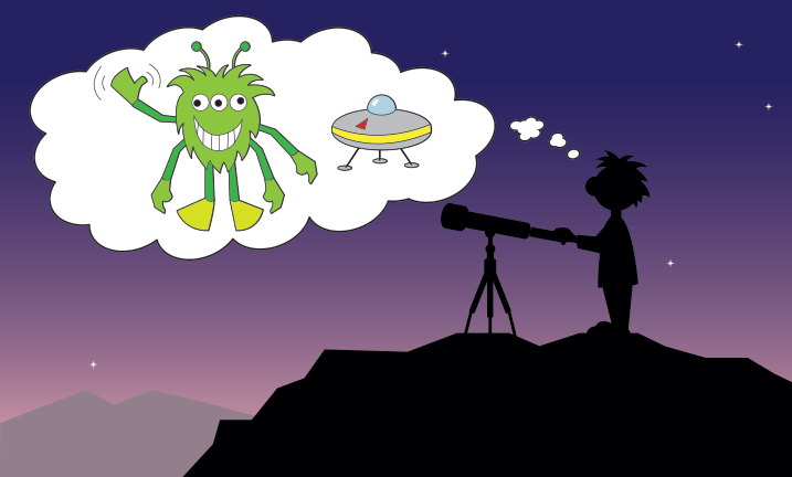 a child at a telescope with a thought bubble containing a green alien