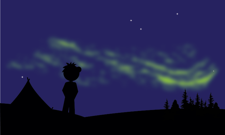 a character looking at green lights in a night sky