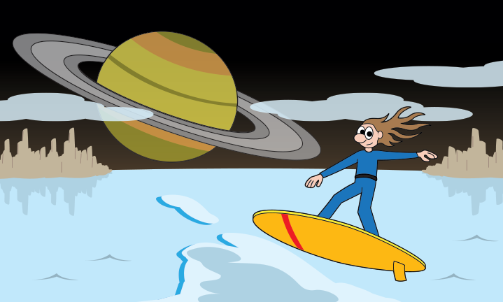 a character surfing with Saturn in the background