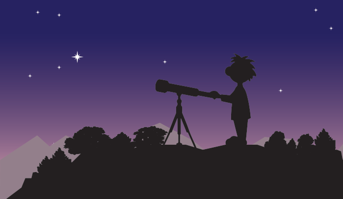 outline of a character and a telescope