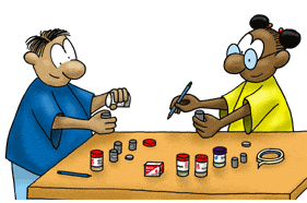 cartoon of two children conducting the e-nose activity.