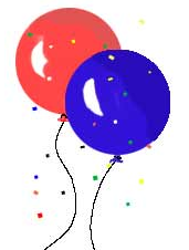 cartoon of two balloons covered in bits of paper