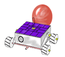 cartoon of a balloon-powered nanorover