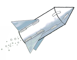 cartoon showing a completed pop-rocket