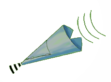 cartoon of a sound cone with sound waves