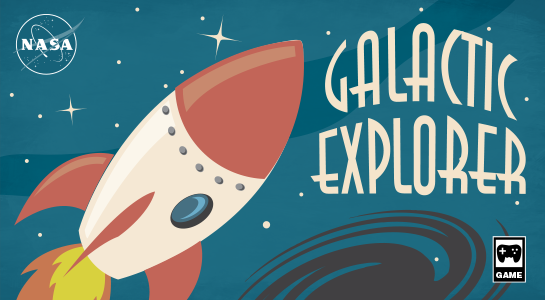 Cartoon of rocket with the words 'Galactic Explorer'