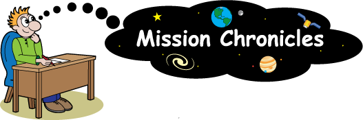 Cartoon of man sitting at desk, with thought bubble that says Mission Chronicles.