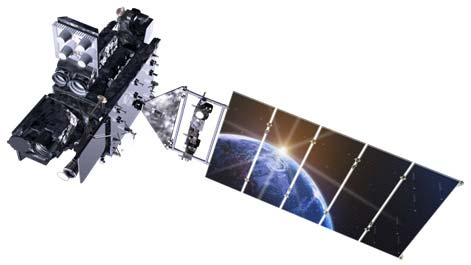 Artwork of GOES-R satellite.