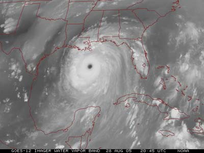 Satellite image in grayscale showing Hurricane Katrina.