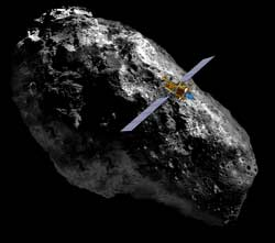 Artist rendering of Deep Space 1 flying close to asteroid.