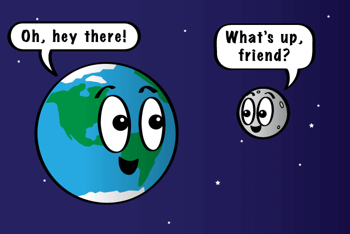 Cartoon of the moon.