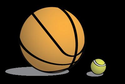 Basketball and tennis ball