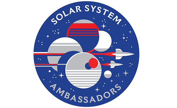 Round logo for Solar System Ambassadors program. It contains a couple planets and spacecraft flying by them.