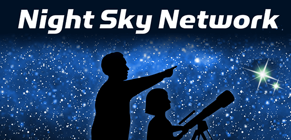 A starry sky with the silhouettes of a child and adult looking through a telescope. Text over the image reads Night Sky Network.