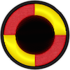 a merit badge that shows a large circle in the middle indicating a large planet