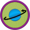a merit badge with a planet and an arrow encircling it, showing rotation