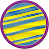 a merit badge has bands of yellow and blue showing a general gas giant
