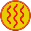 a merit badge with orange wavy heat lines