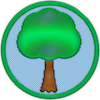 a merit badge with a tree