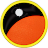a merit badge that shows an orange planet horizon and a moon in the background