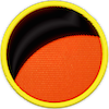 a merit badge that shows an orange planet horizon with no moon in the sky