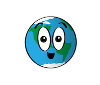 a cartoon of Earth with a smiling face