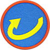 a merit badge with a horizontal arrow showing clockwise rotation