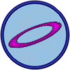 a merit badge with a purple ring in the center