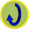 a merit badge with a vertical rounded arrow