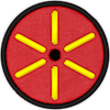 a merit badge that shows a small cirlce in the middle indicating a small planet