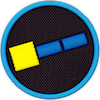 a merit badge with a simplified spacecraft made of a square and two rectangles
