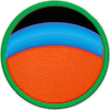 a merit badge with an orange planet and a thick blue band above it