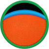 a merit badge with an orange planet and a thin blue band above it