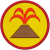 a merit badge with a volcano spewing lava