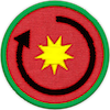 a merit badge with a sun and an arrow encircling it, showing revolution around the sun