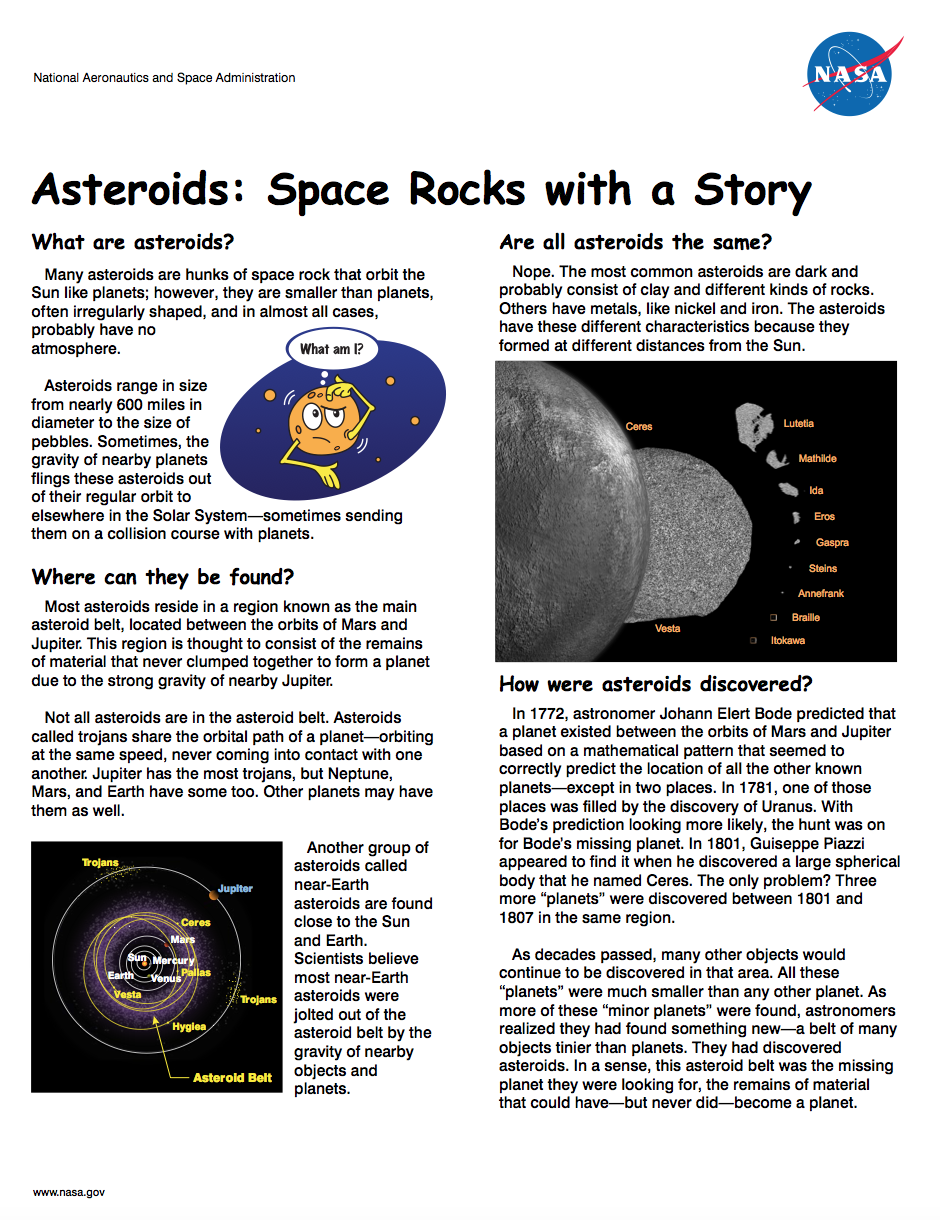 Thumbnail image of asteroids brochure front page