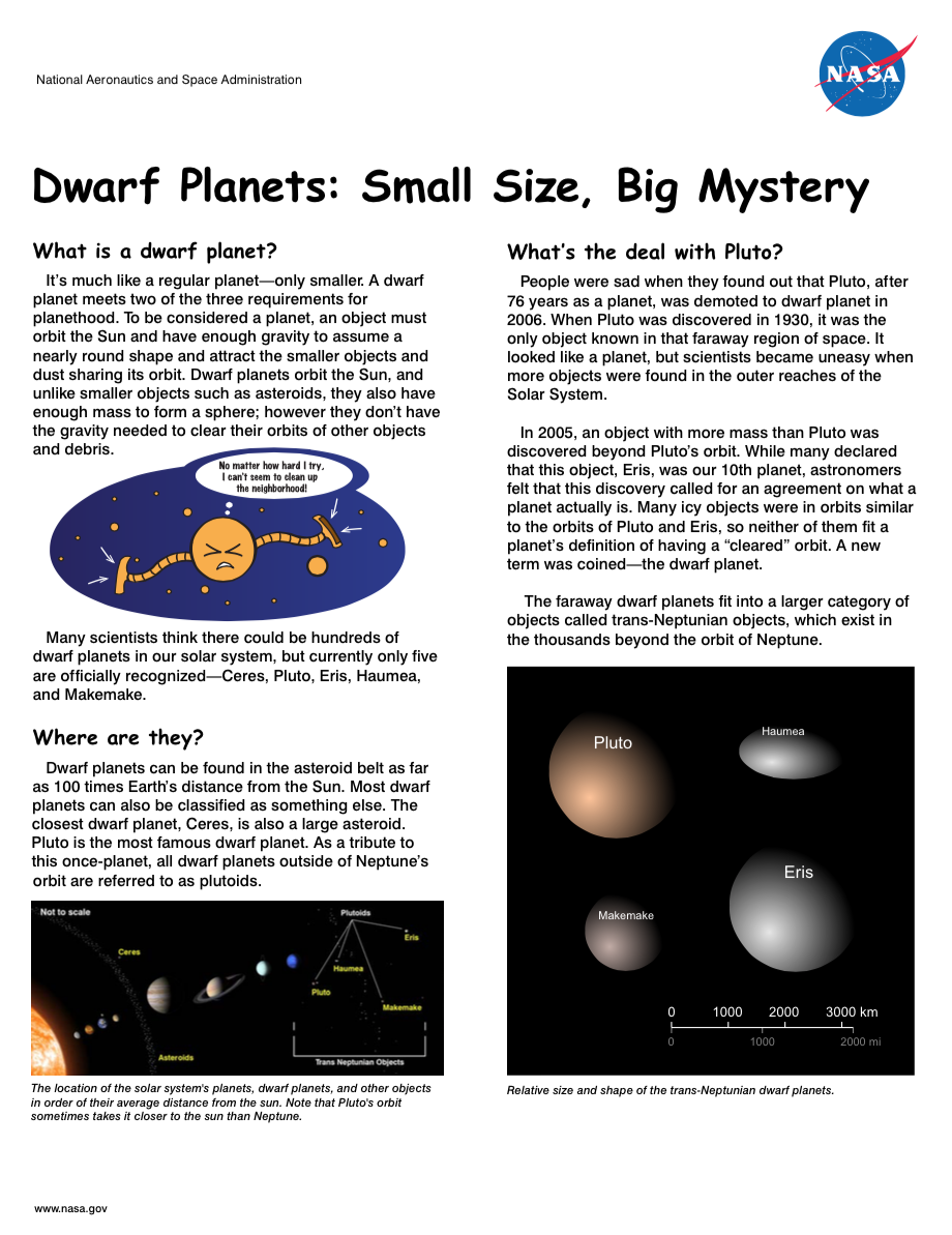 Thumbnail image of dwarf planets brochure front page