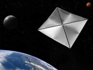 Artwork showing a four-section square solar sail in space near earth.